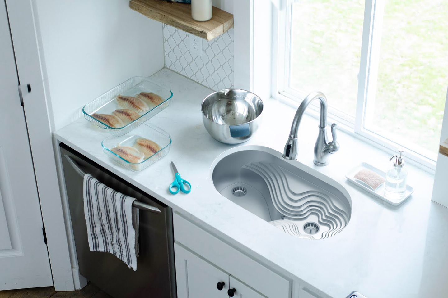 This redesign of the kitchen sink was built on a scheme of chamfers and angled edges for one-handed users to use as leverage!
