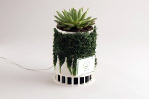This biophilic air purifier uses 100% fully biodegradable filters to combat landfill waste!