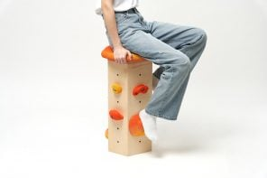 This playful bar stool uses rock climbing hand grips as foot rests to meet your feet wherever they fall!