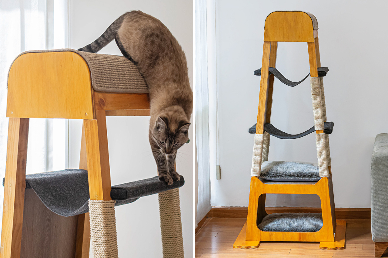 This wooden cat tower will keep your cat entertained for hours and blends right into modern living rooms!