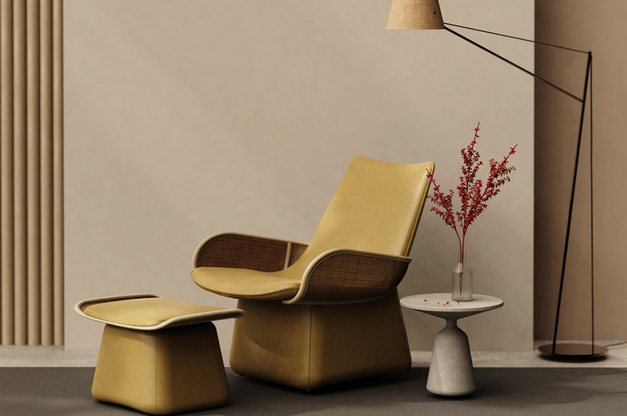 This modern lounge chair is a rattan-based derivation of the iconic Eames chair!