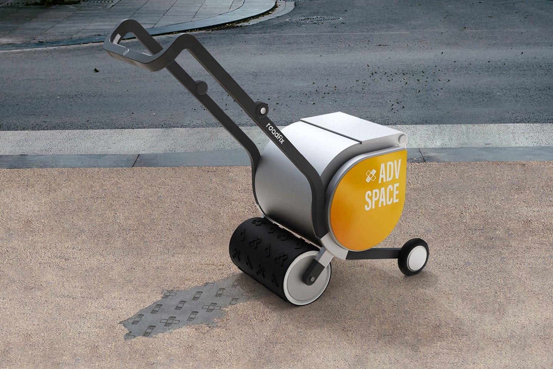 Roadfix fills potholes with concrete and advertisements