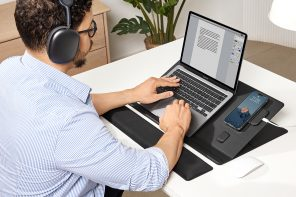 MOFT's latest Smart Desk Mat lets you easily set up and organize a portable, angle-adjustable workspace with all your devices