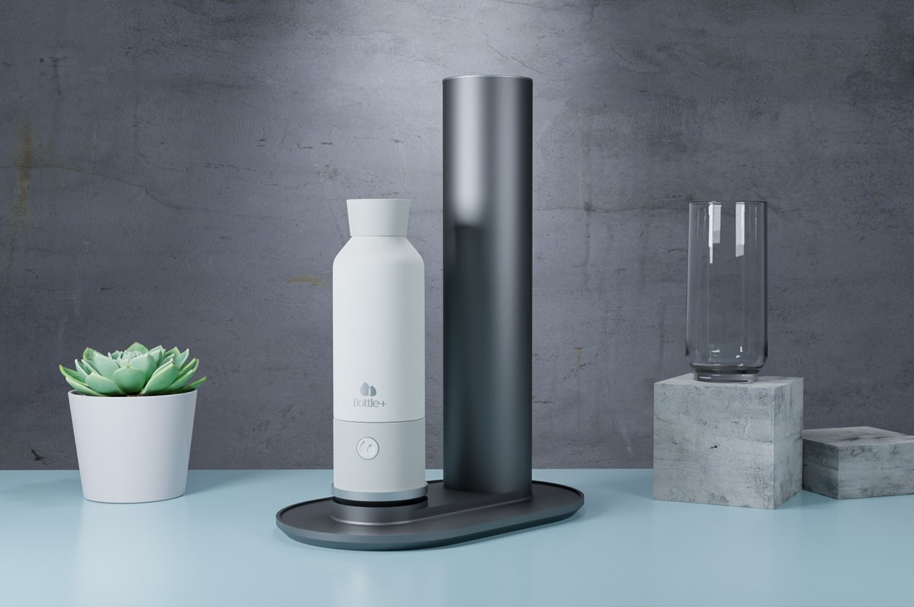 This portable bottle turns your regular water into sparkling water… just by pushing a button
