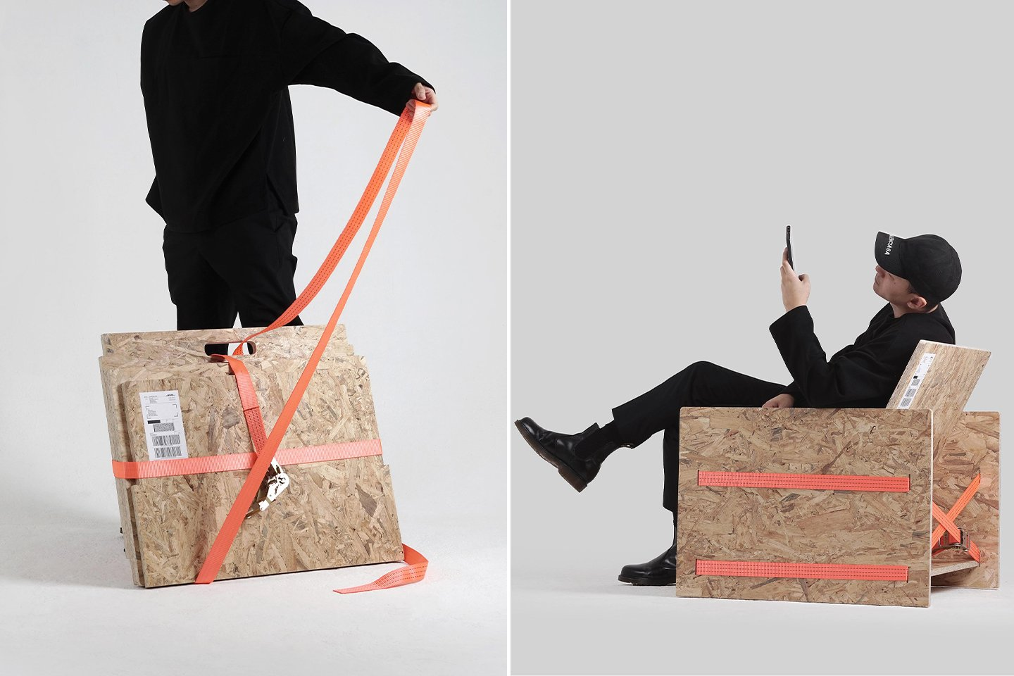 This chair is assembled with a cargo strap – no hardware, screws, no glue, no packaging!