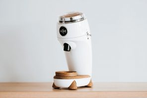 This coffee-grinder's retro-inspired form harks back to the golden age of Italian automotive design