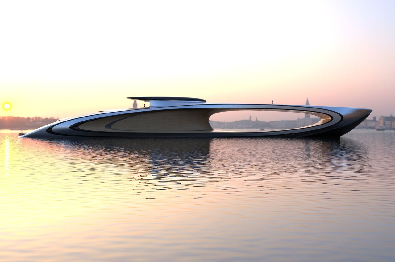 This sleek superyacht with its hollowed out center challenges and revolutionizes the luxury automotive world
