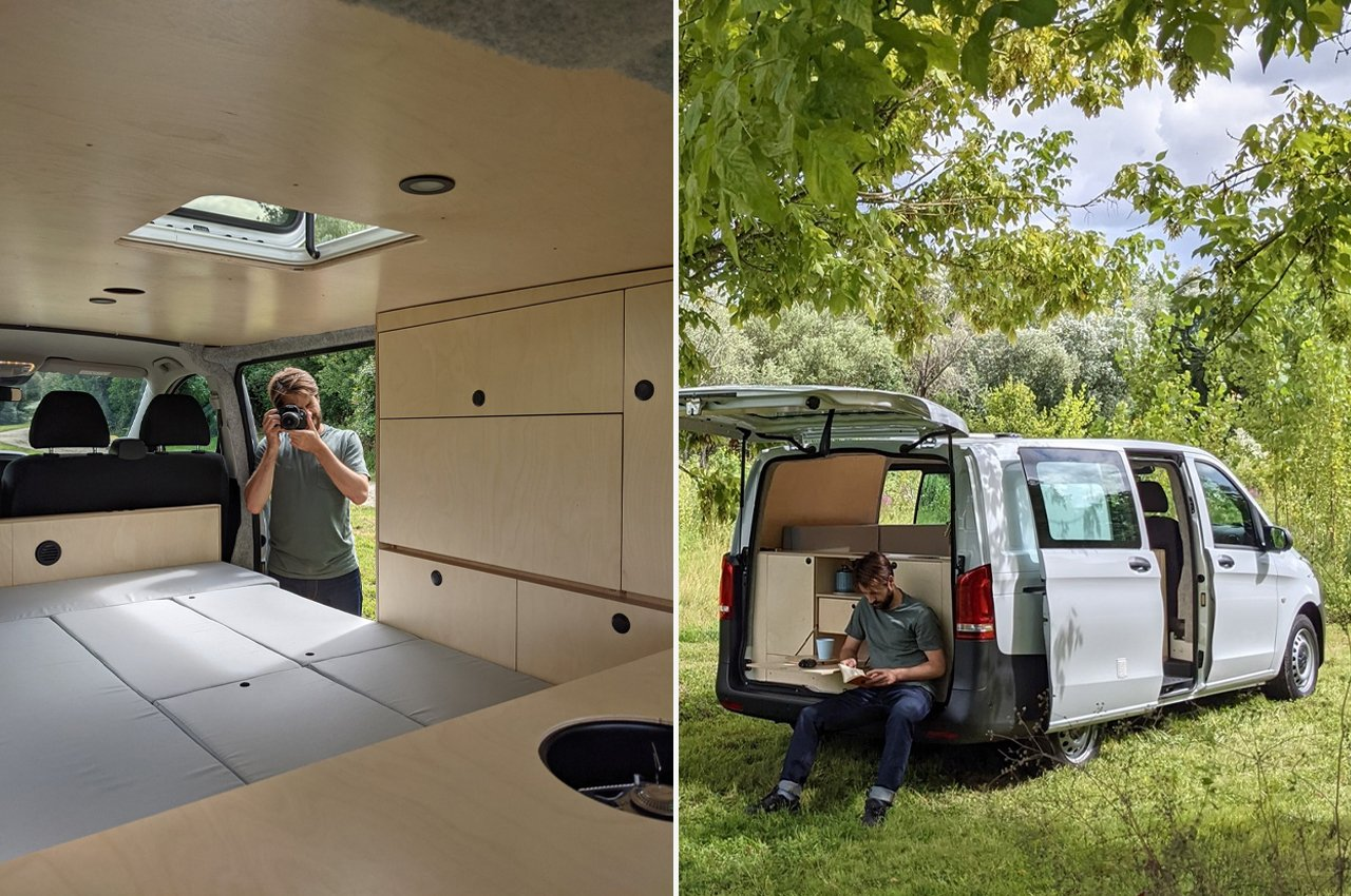 This Mercedes Vito turned camper keeps you outdoor ready with everything from an outdoor shower to a rear kitchen!