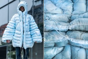 This puffer jacket is filled with single-use masks and shows the pandemic-related environmental issues!