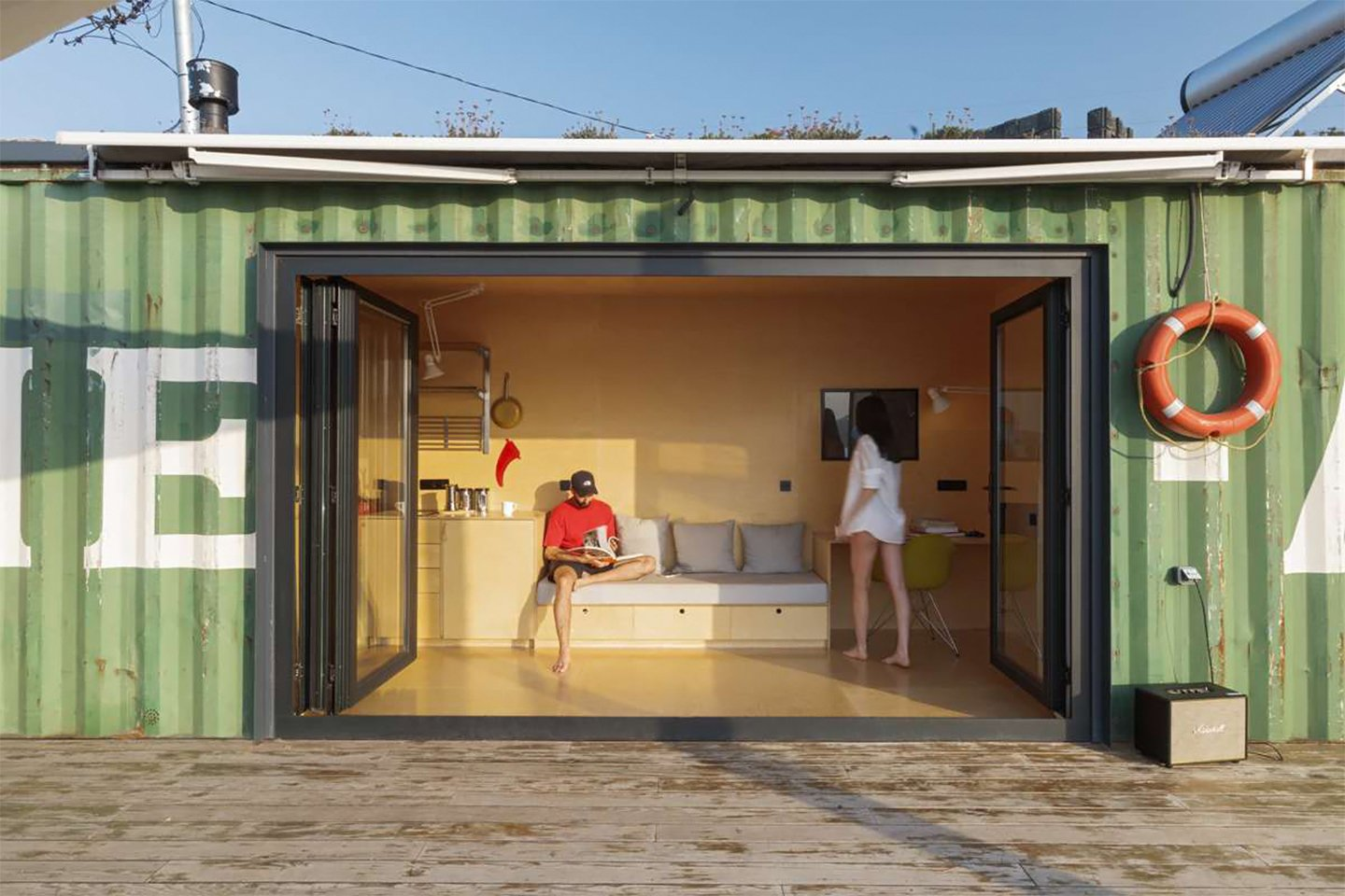 This shipping container has been transformed into a getaway by the sea!