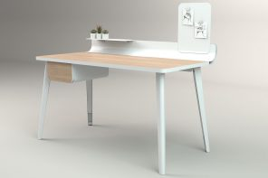 This sleek home office desk organizes cluttered workspace, retaining a warm yet minimal aesthetic