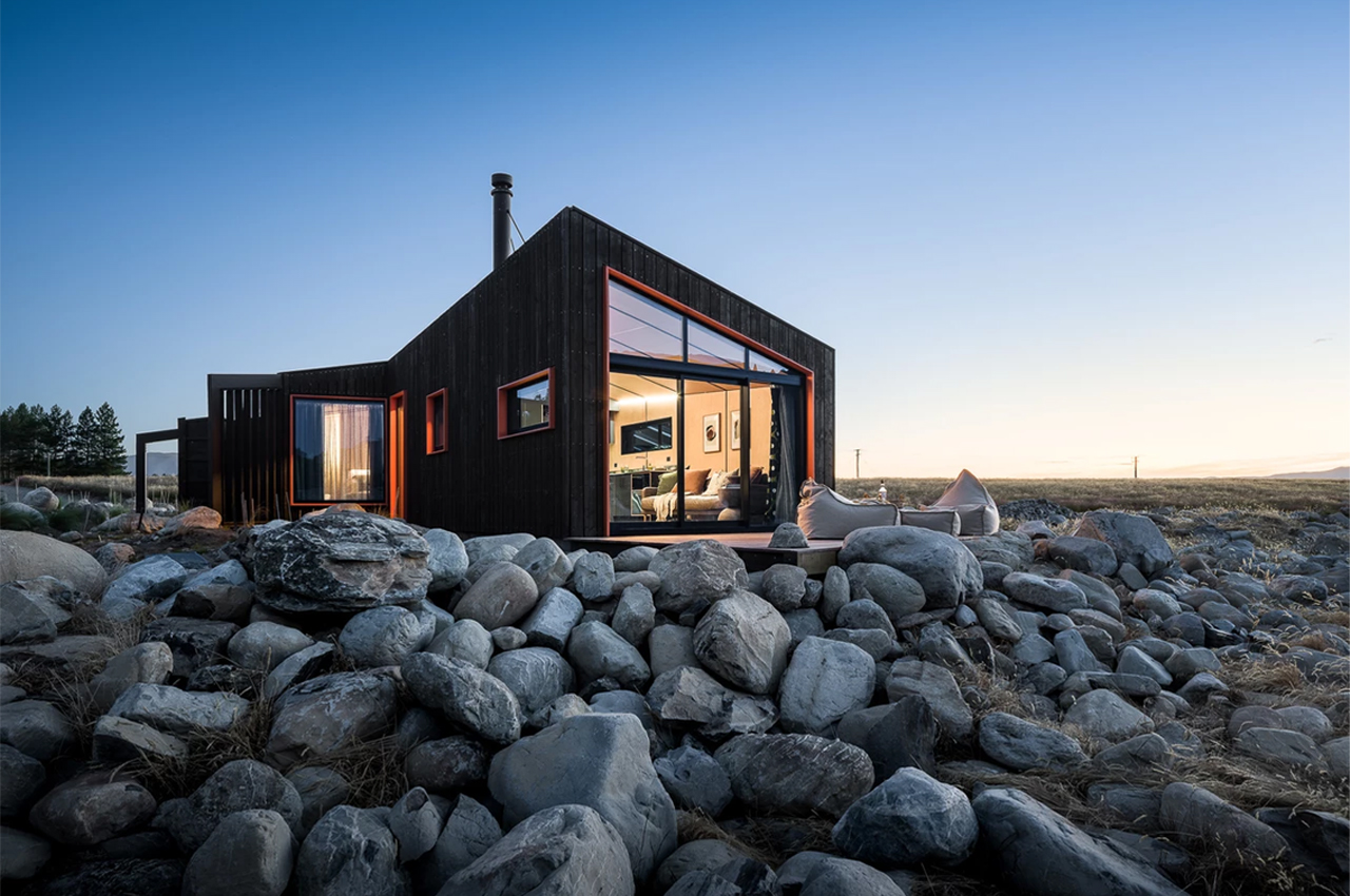 This cabin in the mountain foothills is inspired by the flight patterns and nesting habits of skylarks!