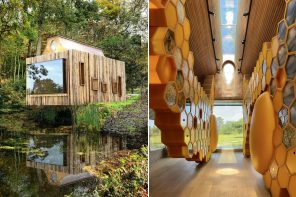 This cabin in the woods is actually a waterside apiary that aims at education & conservation of bees!