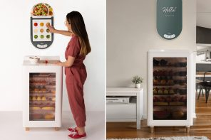 This smart refrigerator designed with a built-in food preparation space promotes mindful eating