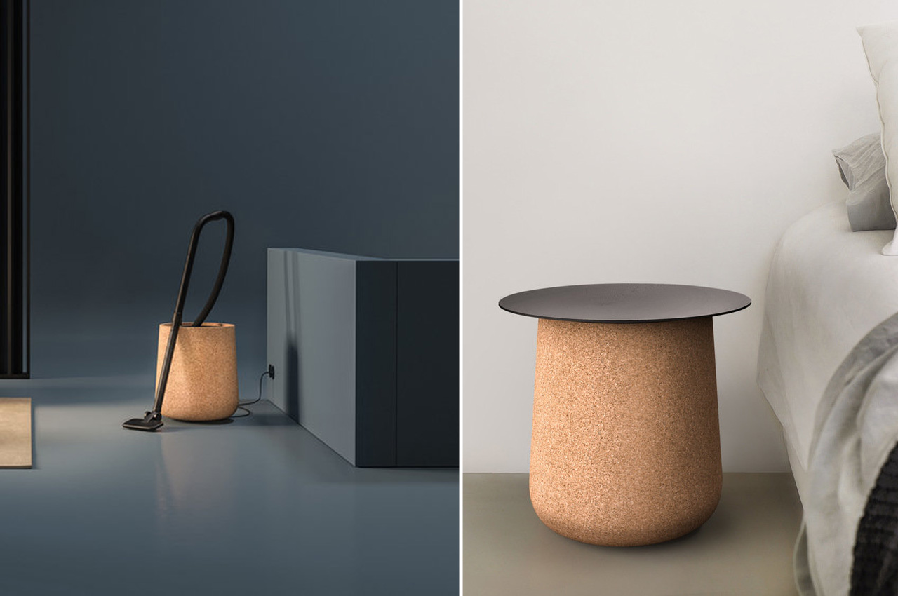 Furniture meets vacuum cleaner with this bagless design that hides in a cork sidetable