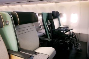 Disability-friendly Aircraft seat design by PriestmanGoode folds up to fit a wheelchair in its place