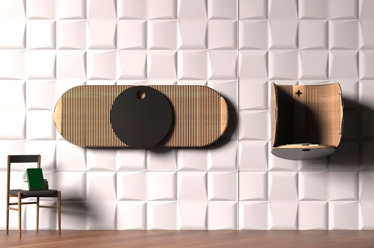 This multifunctional wall-mounted furniture design transforms into a private + noise reducing workstation!