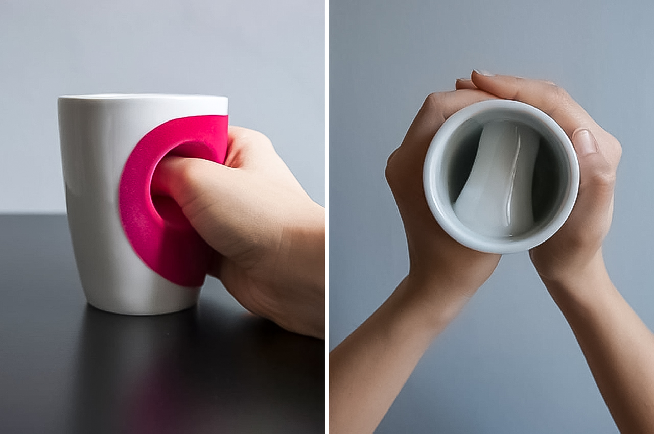 Meet the hug cup, an evolution of the traditional tableware that allows you to easily hold your warm mug on those chilly days!