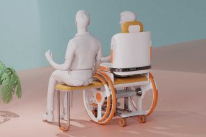 This foldable wheelchair has a concealed seat to help the wheelchair pusher rest