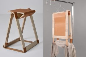 This folding chair is inspired by origami and can be literally hung like clothes on a hanger!