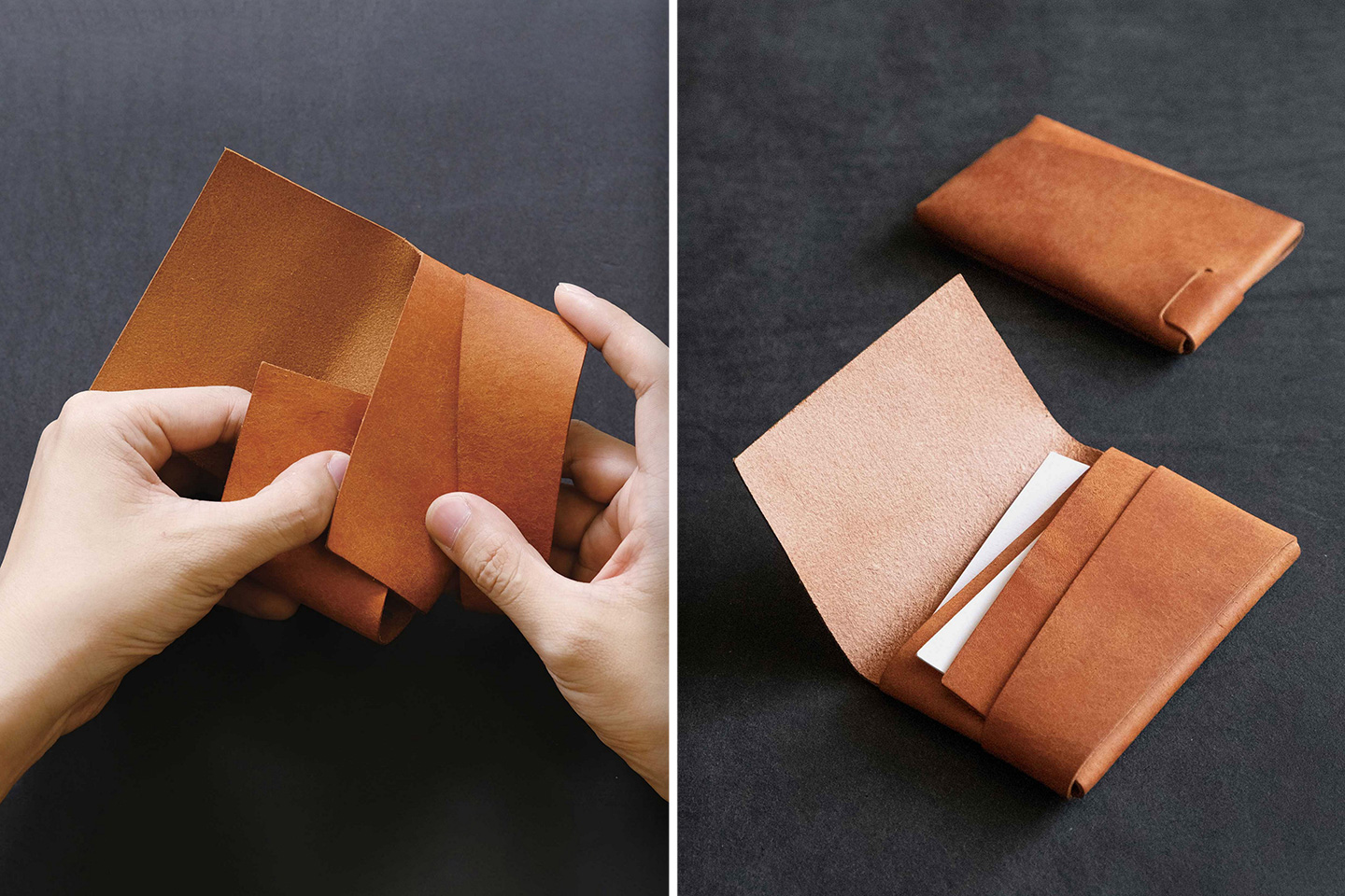 This leather card-holder is made just by folding a single piece of leather – no metal rivets, stitches, or glue