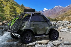 This Microlino off-roading vehicle is for adventure seekers who enjoy travelling with a tiny footprint!