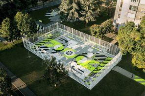 This Nike playground is constructed with 20,000 upcycled sneakers!